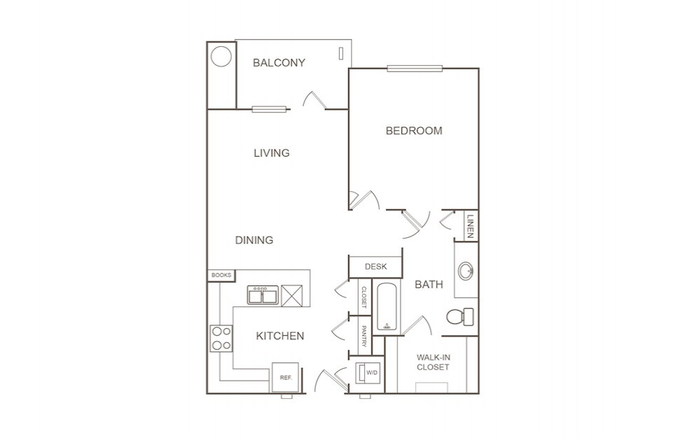 A1 - 1 bedroom floorplan layout with 1 bath and 752 square feet (1st floor 2D)