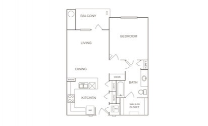 A1 - 1 bedroom floorplan layout with 1 bath and 752 square feet