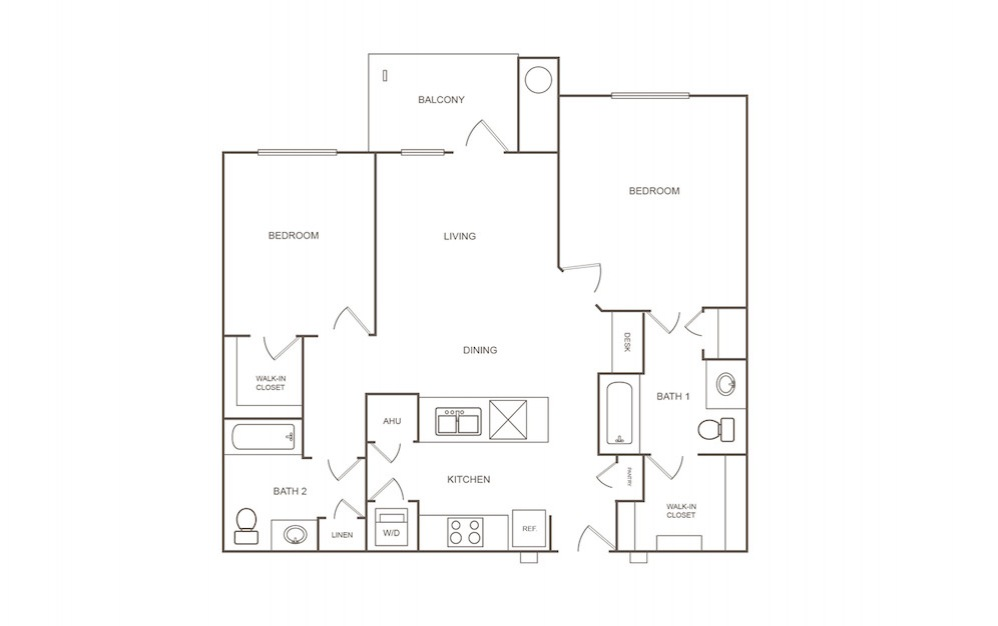 B1 - 2 bedroom floorplan layout with 2 bath and 1007 square feet (1st floor 2D)