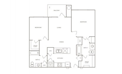B1 - 2 bedroom floorplan layout with 2 bath and 1007 square feet