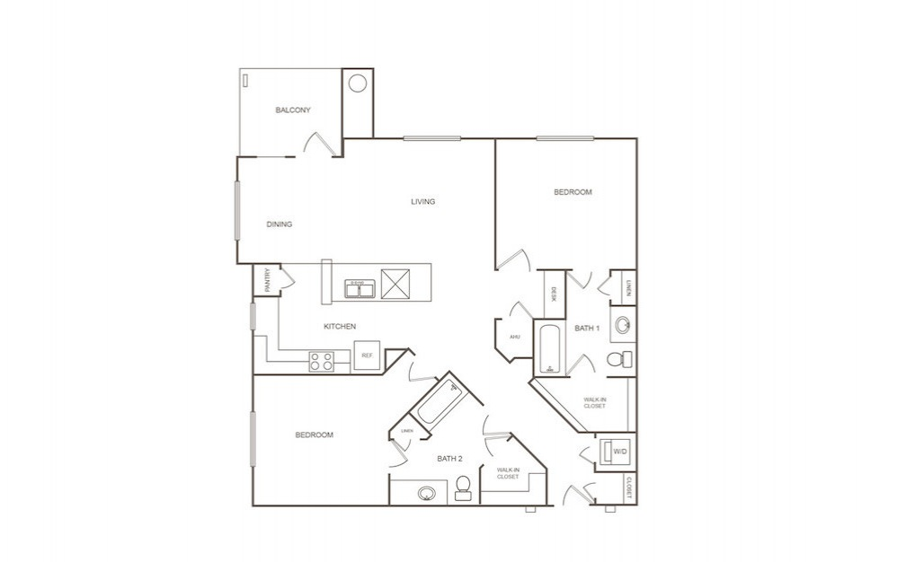 B2 - 2 bedroom floorplan layout with 2 bath and 1177 square feet (1st floor 2D)