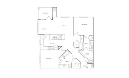 B2 - 2 bedroom floorplan layout with 2 bath and 1177 square feet