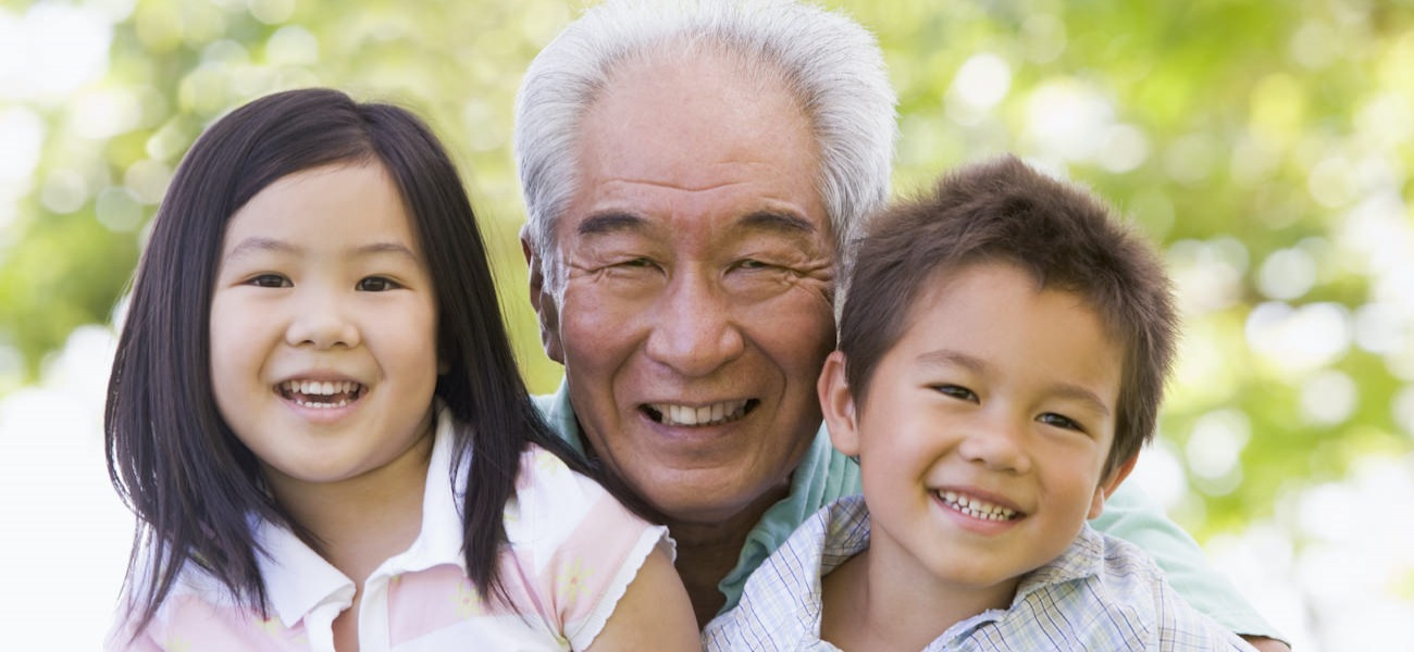 Homepage rotator with senior man and two grandchildren